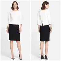 St. John Wool Nouveau Boucle Knit Mock 2pc Peplum Sheath Dress Black Ivory Sz 6