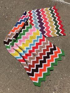 "Handmade VTG Afghan Crocheted Chevron Zig Zag 26""x84"" Throw Blanket Sofa Boho"