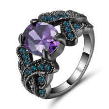 Purple Amethyst&blue  Engagement Ring Size 9 10KT Black Gold Filled Jewelry
