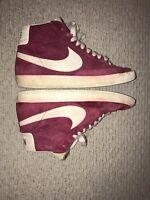 Vintage 2008 Nike Blazer High Tops RED Suede 344344-611 Mens Size 8.5!