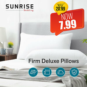 Pack of 2 Extra Filled Pillow Hotel Quality Firm Deluxe Soft Sleep Night Pillows