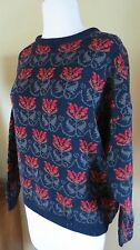 "Vtg Jamie Watson Scotland  WOOL FLORAL Pullover SWEATER  40"" bust size  8-10"