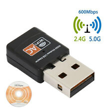 Dual Band 2.4/5GHz Wifi Adapter 600Mbps USB Wireless Net Dongle For Windows Mac