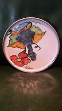 """HIMARK CELINA SIGNED PORTUGAL RED CLAY PLATE Hand Painted Grapes Flowers 11"""""""