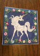 VTG 80'S NEEDLEPOINT FINISHED CRAFT MAGICAL UNICORN CHILD ADULT Tapestry 14X14