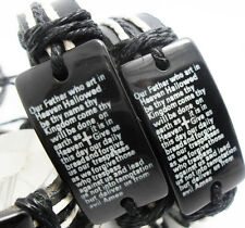 10pcs English Lord's Prayer Cross Bible Leather Bracelet Men Wristband Whoelsale