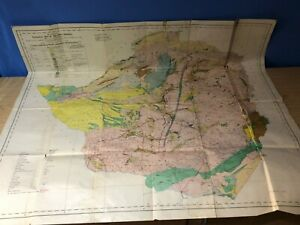 "Rare Large (37""x32"") Geological Map of Southern Rhodesia & Tati Concession 1951"