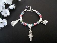 Kids Jewelry Alice In Wonderland Disney Charm Bracelet Turquoise Pink Purple