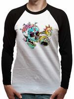 Official RICK AND MORTY T Shirt Skull Eyes Baseball Long Sleeve NEW S M L XL
