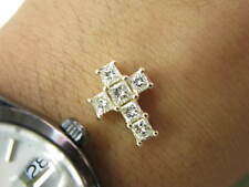 Fine Princess Cut Diamond Cross Pendant Solid Yellow Gold 14KT 1.35CT