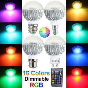 RGB 16 Colour Changing LED Light Bulb Remote Control Lamp E27/E26/E14/B22/GU10