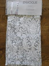 Envogue Gray White Damask Medallion Window Panels Drapes Set 2 NEW 50x96