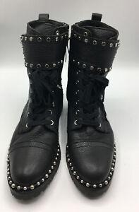 Sam Edelman Women's Jennifer Studded Combat Boot Size 7M Black Leather