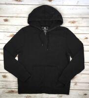 Mens MEK Denim Jeans Black Hoodie Full Zip Sweater Faded Jacket Lightweight M