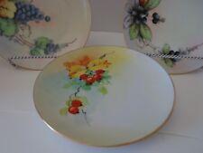"3 Vtg Decorative Dessert Plates Fruit Berries Gold Trim 6"""