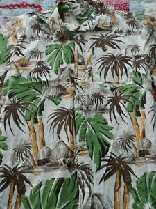Boy's size XL Extra Large Hawaiian Shirt in Brown & Green Foliage and Huts