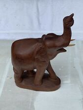 Wood Elephant Sculpture Hand Carved Wooden Figurine Lucky Statue Thailand
