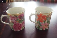 "Lenox Flower Blossom Collection by Susan Clee mugs ""Rose"" and ""Day Lily""[*7i]"
