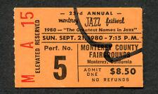 23rd Annual 1980 Monterey Jazz concert ticket stub Dave Brubeck Sarah Vaughan