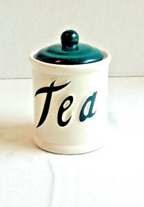 Vintage Himark Tea Canister Jar Green Script Container Utensil Holder Vase