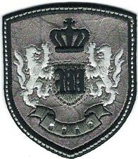 Silver Black Rampant Lion Crown Coat of Arms Crest Letter W Embroidery Patch