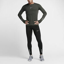 NIKE MENS SIZE MEDIUM LONG SLEEVE RUNNING SHIRT GRAY/BLACK 683910-010 Nwt  $100