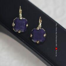 Boucles d`Oreilles Dormeuses Doré Carré Violet Class Vintage Original DD 5