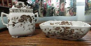 "Antique Brown Transferware Bowl and Biscuit Jar W.H.Grindley ""Spring"" 1891-1914"