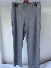 M&S Size 12 Regular Black & White Dogtooth Pattern Pull on Casual Trousers