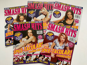 **SPICE GIRLS UK SMASH HITS MAGAZINE 1997 - SET OF 5 COLLECTABLE COVERS**