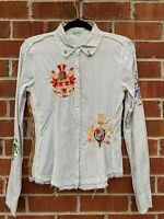 Johnny Was 3J Workshop Embroidered White Royal Crest Shirt Size Small Blouse