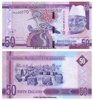 Gambia 50 Dalasis 2015 New Design  P-34  First Prefix 'A' Banknotes UNC