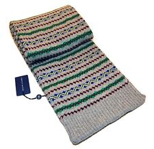 Polo Ralph Lauren Womens Mens Fair Isle Cashmere Wool Knit Polo Scarf Grey