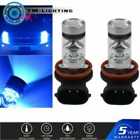 2x H8 H9 H11 H16 10000K Deep Blue 100W LED Headlight Bulb Kit Fog Driving Light