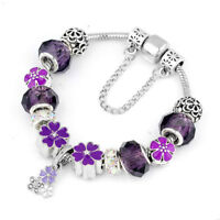 Vintage Silver Women's Charm Bracelet Purple Flower Charms Bangle Gifts Jewelry
