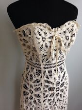 Betsy Johnson Ivory & Black Lace Overlay Strapless Bustier Dress Sz 2 NWT