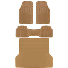 CarXS Proliners Custom Rubber Floor Mats Beige-4pc Heavy Duty Diamond Grid