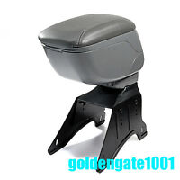 Adjustable Gray Soft Leather Armrest Center Console Storage Box Universal Fit GG