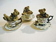 Hugsly Teabearie 3 Figurines Boyds Bears In Tea Cups Vintage 2002