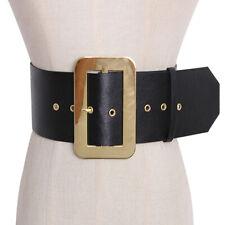 Women Leather Belt Rectangular Golden Pin Buckle Waistband Ultra Wide Cummerbund