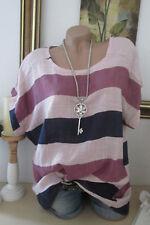 OVERSIZE Shirt Bluse Tunika KURZARM Sommer Pailletten Blockstreife Rosa 44 46