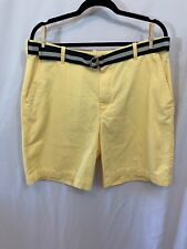 IZOD Men's Sz 36 Light Yellow W/ Blue Belt Shorts