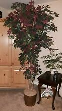 7 Feet Artificial Ficus Tree Wood Trunks Green/ plum Indoor Outdoor Decoration
