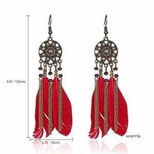 Women Feather Owl Leaf Tassel Earrings Long Dangle Wedding Bridal Jewelry Gift