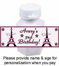30 Eiffel Tower Paris Birthday Party OR Baby Shower Stickers For Mini Bubbles