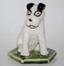 Vintage Signed Studio Pottery Sitting Fox Terrier Dog Figurine Paperweight