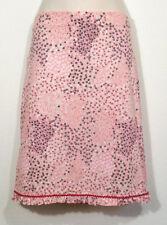 Studio M Women Medium Skirt Straight Pencil Pink Black Floral Elastic Waistband