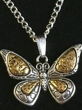 """10 Butterfly Pendants Antique Tone Silver & Gold + 24"""" Silver Plated Chain & Box"""