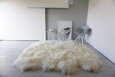 Genuine Octo (8) Icelandic Sheepskin Rug - Super long soft cream white wool
