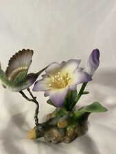 Andrea by Sadek Violet - Crowned Hummingbird Flower Figure Rare